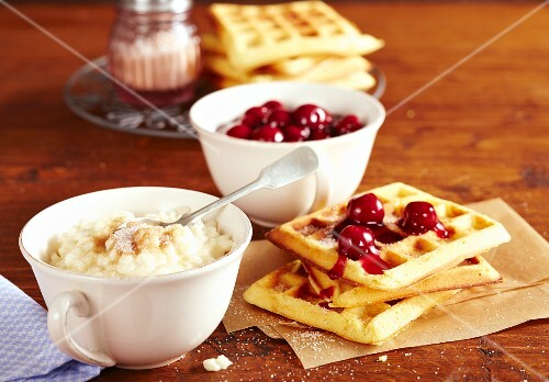 Waffles with sour cherry compote and rice pudding