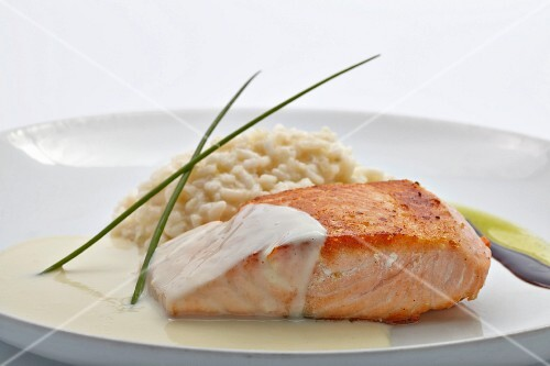 Grilled salmon with risotto
