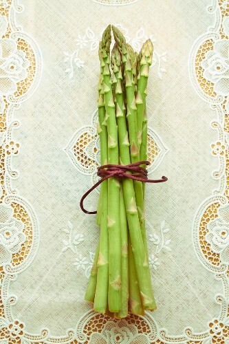 A bundle of green asparagus on a tablecloth