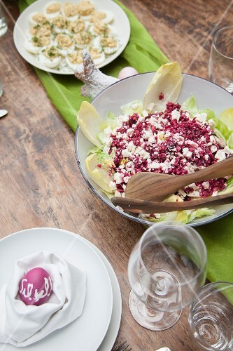 Beetroot salad with goat's cheese, chicory and pomegranate seeds for an Easter lunch