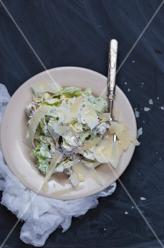 Caesar salad with Parmesan cheese (seen from above)
