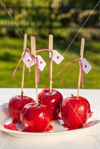 Liebesäpfel auf Gartentisch