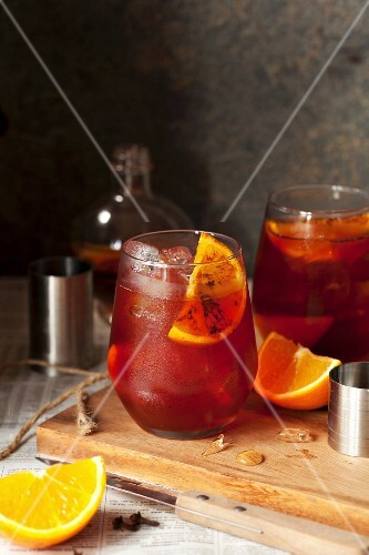 A negroni with roasted oranges and spices