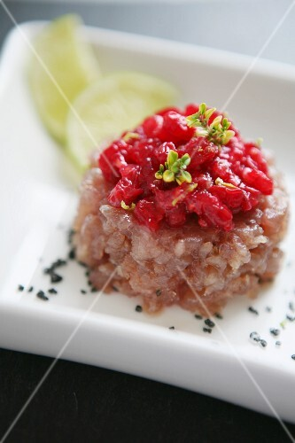Tuna fish tatar with red fruit salsa