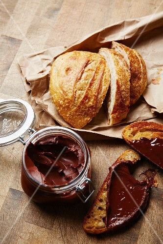 Madagascan chocolate spread with sour dough bread