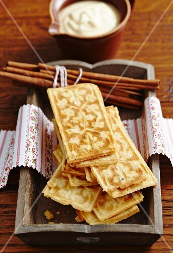 Cinnamon waffles with orange sabayon