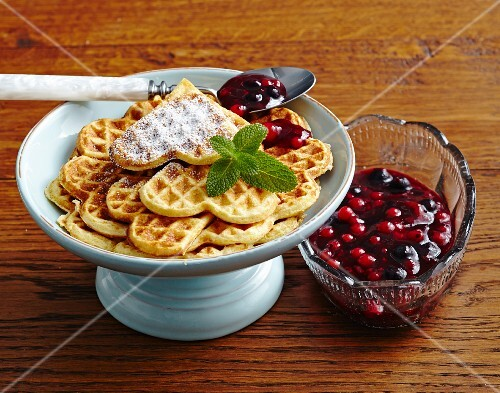 Millet waffles with berry compote