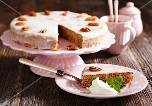 Ginger and pecan nut cake with icing (Australia)