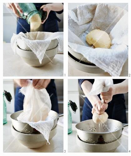 Butter being made