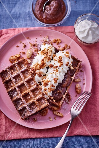 Waffle with chestnut cream and whipped cream