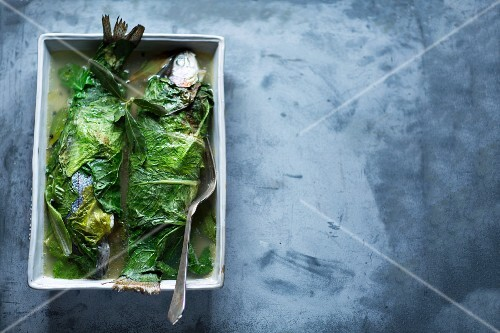 Trout wrapped in leaves