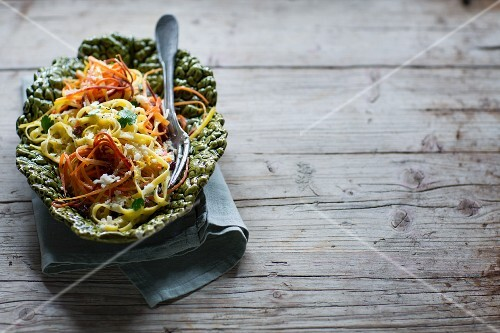 Fettuccini with julienned carrots