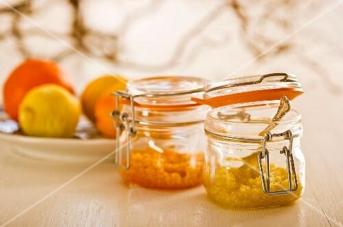 Grated lemon and orange zest
