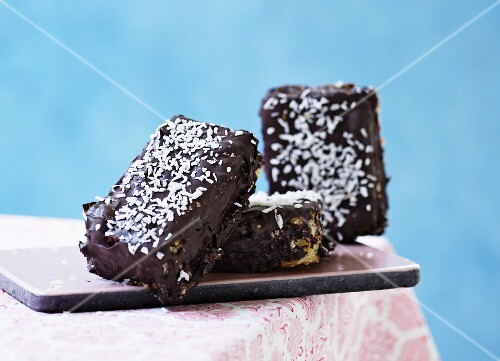 Slices of chocolate cake with grated chocolate
