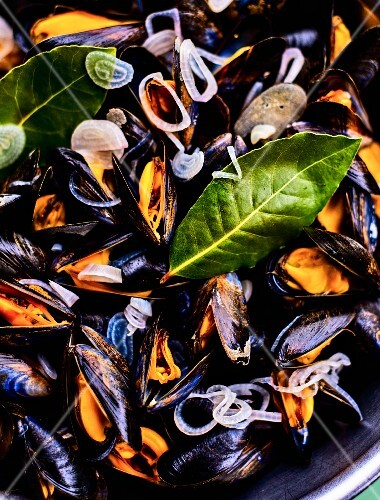 Mussels with onions and a bay leaf (close-up)