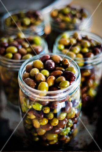 Jars of olives in brine