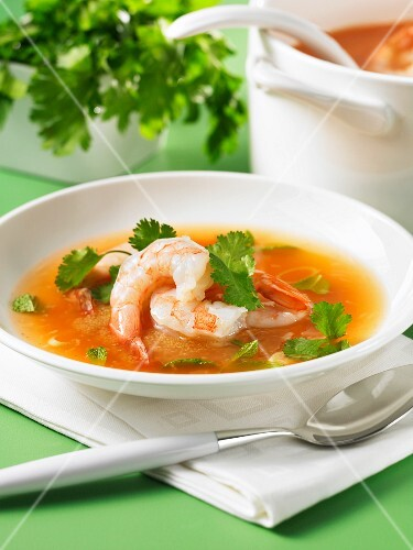 Spicy prawn soup with amaranth and coriander