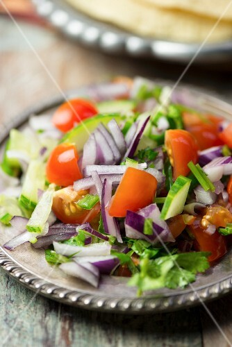 Kachumber (Indian tomato and cucumber salad with onions)