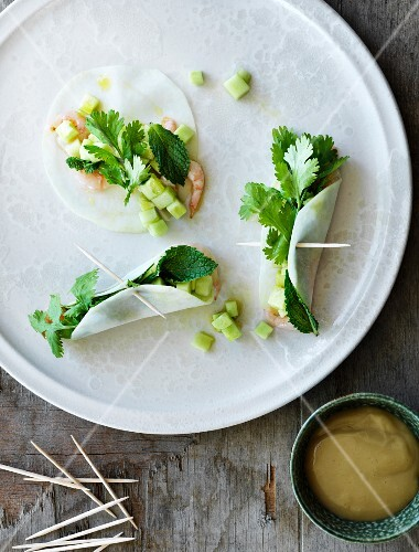 Cabbage spring rolls with prawns, herbs and parsley