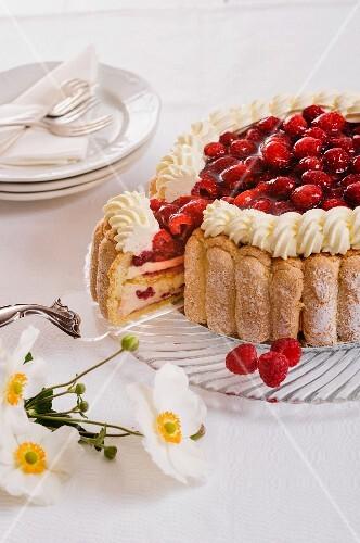 rapberry flaky pastry layered dessert