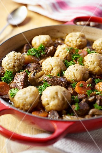 Beef casserole with dumplings and carrots
