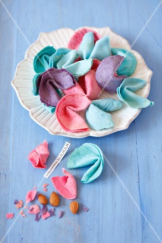 Colourful, homemade fortune cookies