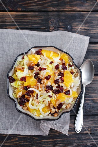 Chicory salad with oranges, nuts and dried cranberries