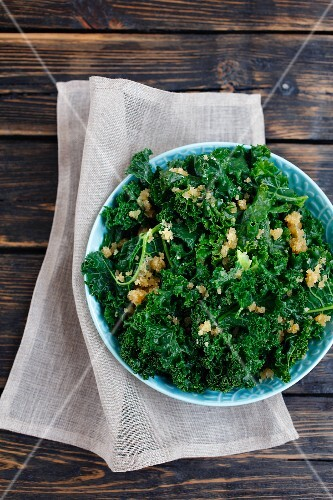 Kale with buttered crumbs