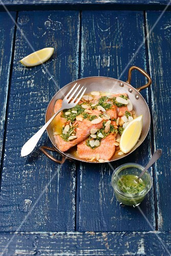 Baked salmon trout with gremolata