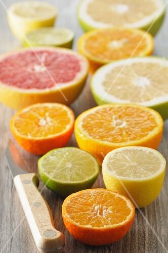 Assorted citrus fruit, halved
