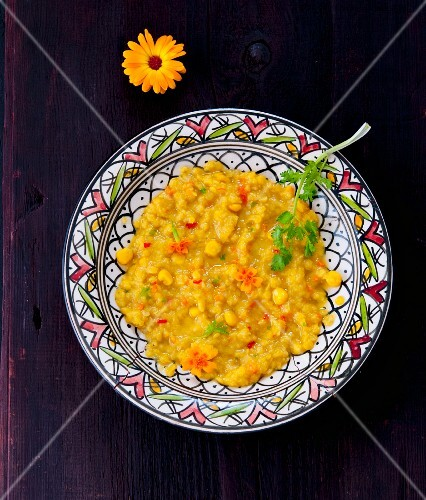 Lentil and sweetcorn dhal (India)