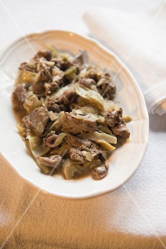 Coratella ai carciofi (offal with artichokes, Italy)
