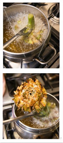 Artichokes being fried