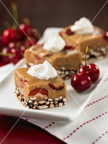 Chocolate and cherry slices with puffed rice
