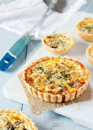 Artichoke, blue cheese and water cress tartlets