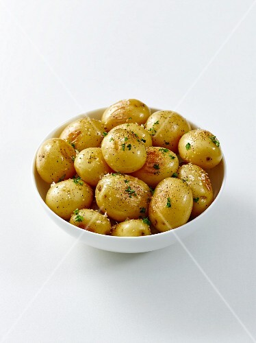 A bowl of baby new potatoes