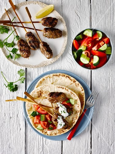 Kofta with Greek salad (seen from above)
