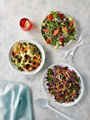 Three summer salads (seen from above)