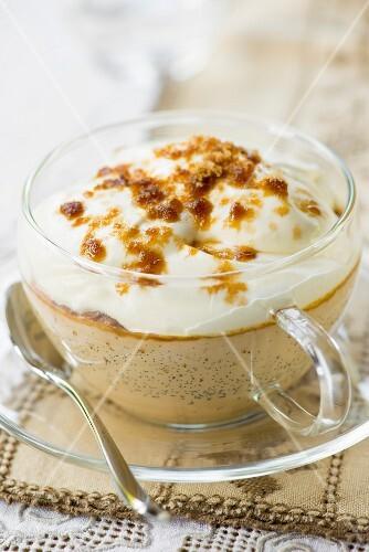 Cappuccino crème brûlée in a glass cup
