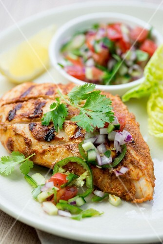 Chicken tikka with and Indian vegetable salad