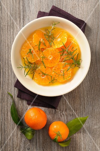 Clementine soup with honey and rosemary