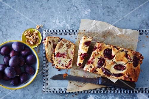 Walnut & banana cake with chilli plums