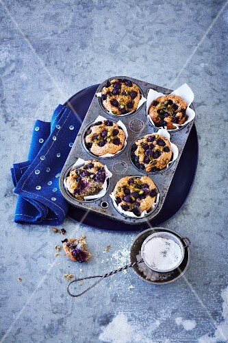 Blueberry & poppy seed muffins with almonds