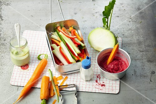 Vegetables with two different dips