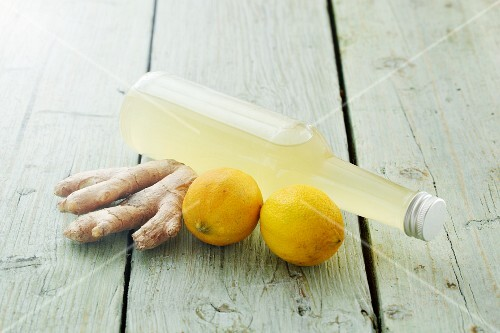 Homemade lemon and ginger syrup