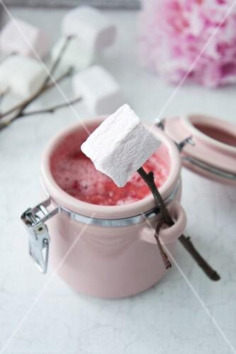 Raspberry & strawberry sauce with marshmallows