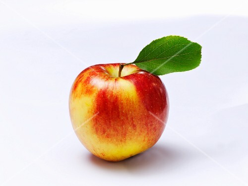 An apple with a leaf