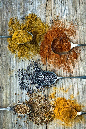 Various Indian spices (seen from above)