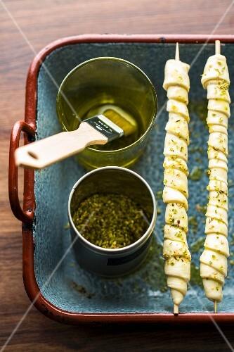 Breadsticks with olive oil, oregano and fleur de sel