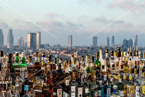 A bar in the roof terrace of the 'The Marmara Pera', Istanbul, Istanbul